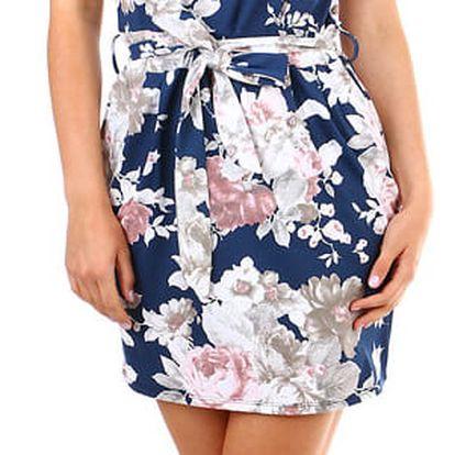 Dámské květované šaty s páskem modrá