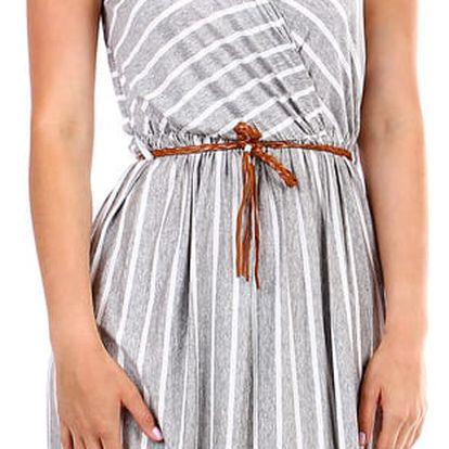Pruhované dámské šaty- zavinovací efekt šedá