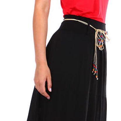 Dámská maxi sukně s korálkovým páskem černá