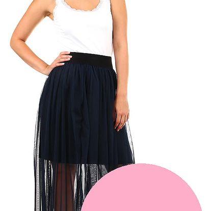 Dlouhá dámská tylová sukně světle růžová