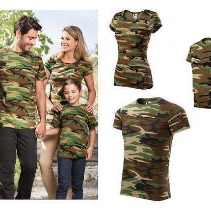 Maskáčové bavlněné tričko Family