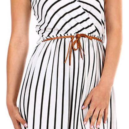Pruhované dámské šaty- zavinovací efekt bílá