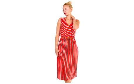 Pruhované dámské šaty- zavinovací efekt červená