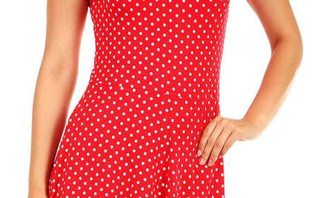 Dámské retro šaty s puntíky červená