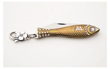 Český nožík rybička ve zlaté barvě skrystalem akarabinkou v designu od Alexandry Dětinské