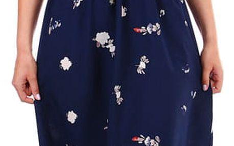 Dámské maxi šaty s květinovým vzorem tmavě modrá