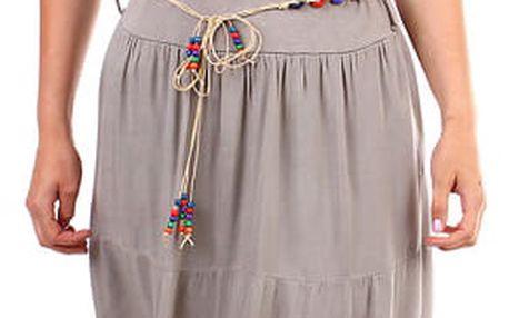 Dámská maxi sukně s korálkovým páskem hnědá