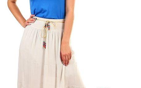 Dámská maxi sukně s korálkovým páskem zelená
