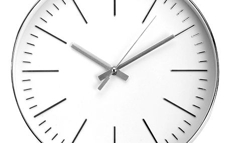 Kulaté nástěnné hodiny, ručičkové, stříbrné - Ø 30 cm Emako