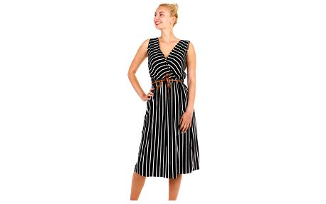 Pruhované dámské šaty- zavinovací efekt černá