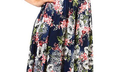 Dámské retro šaty se vzorem tmavě modrá