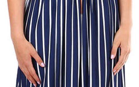Pruhované dámské šaty- zavinovací efekt tmavě modrá