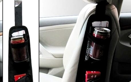 Úložná kapsa do auta. Kapsa je vyrobena z nevlhnoucího materiálu a je v černé barvě.