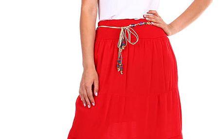 Dámská maxi sukně s korálkovým páskem červená