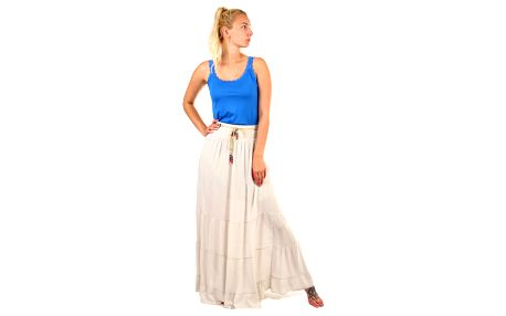 Dámská maxi sukně s korálkovým páskem béžová