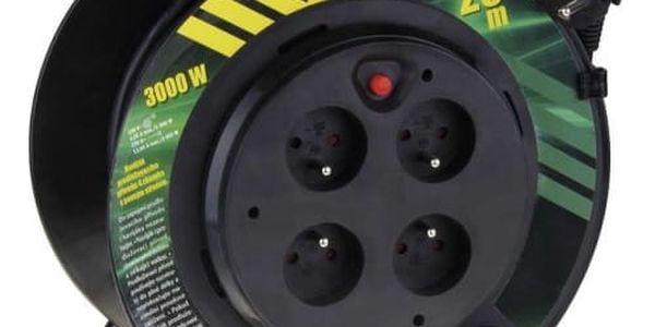 Kabel prodlužovací na bubnu EMOS 4x zásuvka, 25m, pevný střed černý (1908042510)