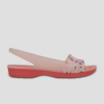 Sandály Crocs ColorBlock Soft Floral Flat W Coral Růžová