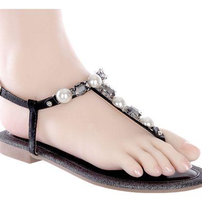 Brilliant Dámské sandály s kamínky a perly
