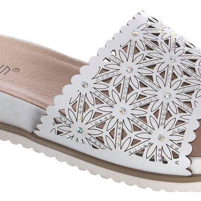 Super IN Dámské pantofle s ažurovým vzorem a kamínky