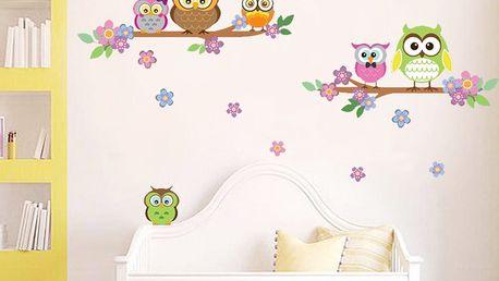 Samolepka na stěnu WALPLUS Barevné sovičky