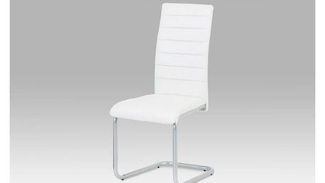 Jídelní židle, koženka bílá / šedý lak DCL-102 WT Autronic