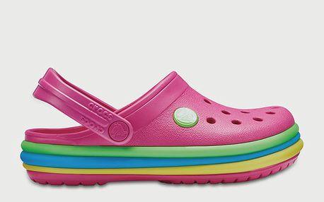 Pantofle Crocs CB Rainbow Band Clog Růžová