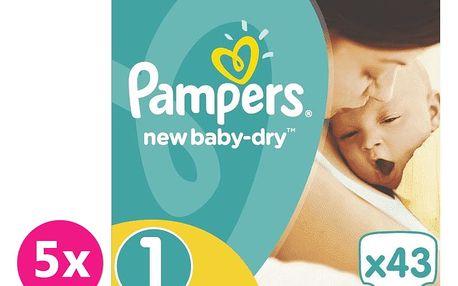 PAMPERS New baby-dry 1 NEWBORN 215 ks (2-5 kg) MĚSÍČNÍ BALENÍ- jednorázové pleny