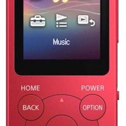 MP3 přehrávač Sony NWE393R červený