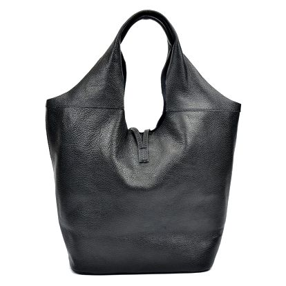 Černá kožená kabelka Luisa Vannini Shopping