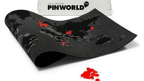 Černá nástěnná mapa světa Palomar Pin World, 126x68cm
