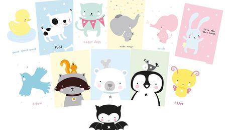 A Little Lovely Company Pohlednice Cute Animals - set 12 ks, žlutá barva, multi barva, papír