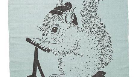 Bloomingville Koberec do dětského pokoje Squirrel Mint, zelená barva, černá barva, textil
