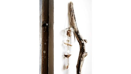 MADAM STOLTZ Skleněný zvonek s mušličkami, béžová barva, bílá barva, sklo, dřevo