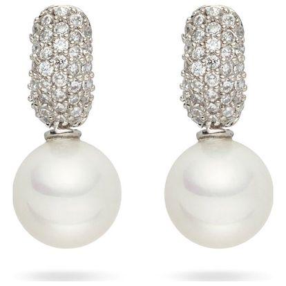Bílé perlové náušnice se zirkony Pearls of London Niké