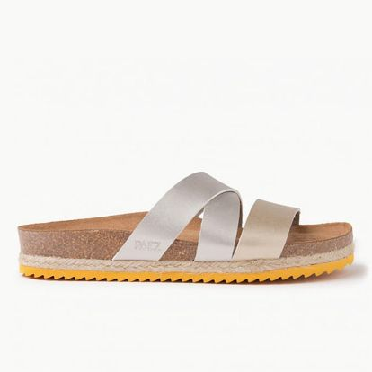 Pantofle Paez Bio Cross Sandal - Gold Stříbrná