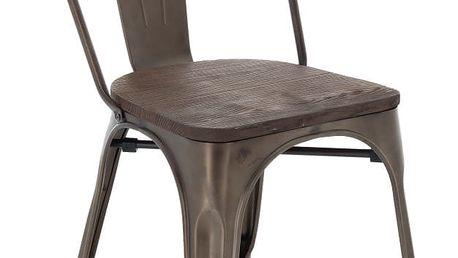 Hnědá jídelní židle se sedákem z elmového dřeva InArt Antique