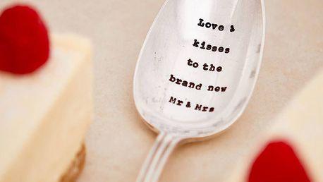 La de da! Living Postříbřená servírovací lžíce Love & Kisses, stříbrná barva, kov