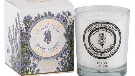 Panier des Sens Vonná svíčka Panier des Sens - levandule, fialová barva, bílá barva, sklo
