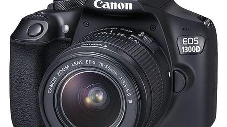 Digitální fotoaparát Canon EOS 1300D 18-55 DC + 75-300 DC černý + dárek (1160C049AA)