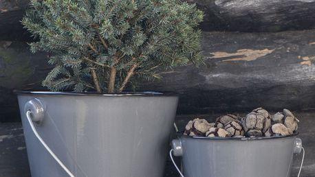IB LAURSEN Malý smaltovaný kyblík - šedý, šedá barva, smalt 10,5cmx12,5cm
