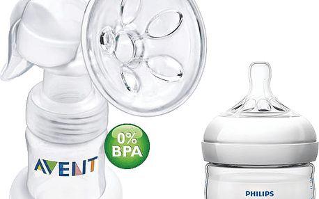 AVENT Odsávačka mateřského mléka Natural se zásobníkem 125ml PP+mini láhev