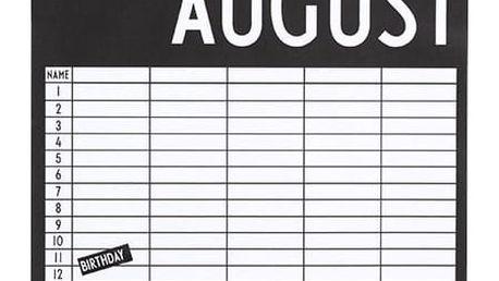 DESIGN LETTERS Měsíční kalendář/plánovač Monthly Planner, černá barva, bílá barva, papír