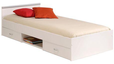 Bílá jednolůžková postel se 2 zásuvkami Parisot Apollina, 90x200cm