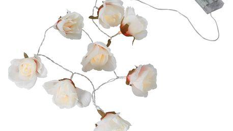 STAR TRADING Dekorativní světelný LED řetěz Flower Rose, bílá barva