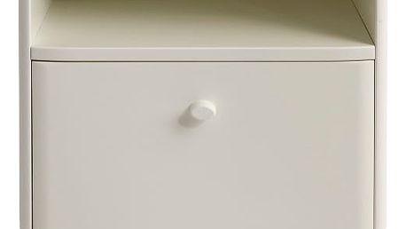Bílý ručně vyráběný noční stolek z masivního březového dřeva se zásuvkou Kiteen Matinea