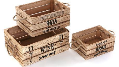 Sada 3 dřevěných boxů Versa