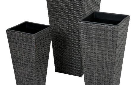 Sada 3 tmavě šedých zahradních květináčů ADDU Plant Pot