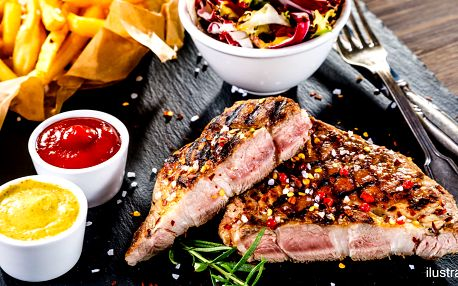 3 druhy steaků, salát, hranolky a dezert pro 2