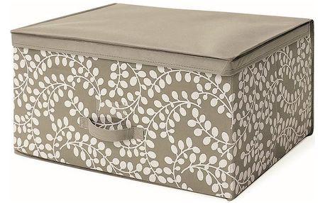 Hnědý uložný box s víkem Cosatto Floral,45x60cm