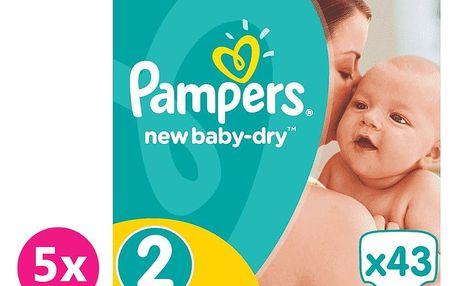 PAMPERS New Baby-Dry 2 Mini 215 ks (3-6 kg) MĚSÍČNÍ BALENÍ – jednorázové pleny